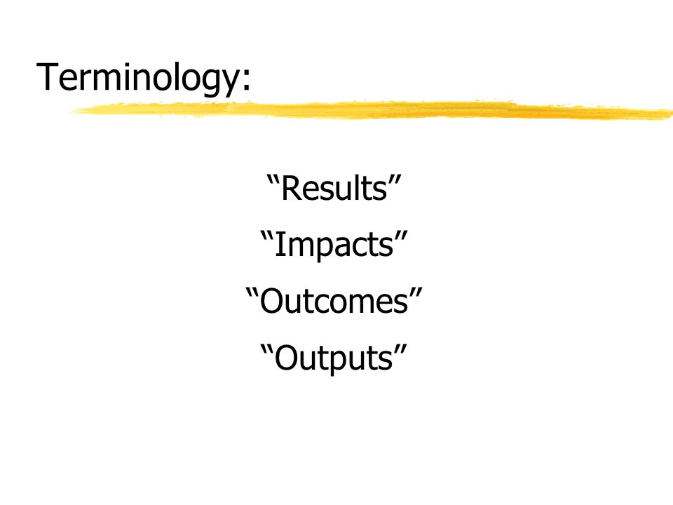 Terminology: Results Impacts Outcomes Outputs