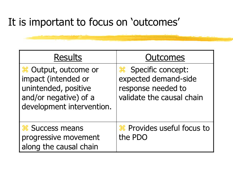It is important to focus on 'outcomes' ResultsOutcomes z Output, outcome or impact (intended or unintended, positive and/or negative) of a development