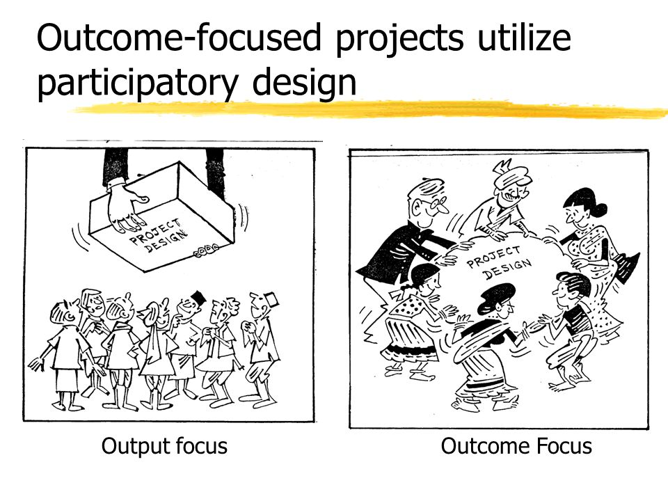 Outcome-focused projects utilize participatory design Output focusOutcome Focus