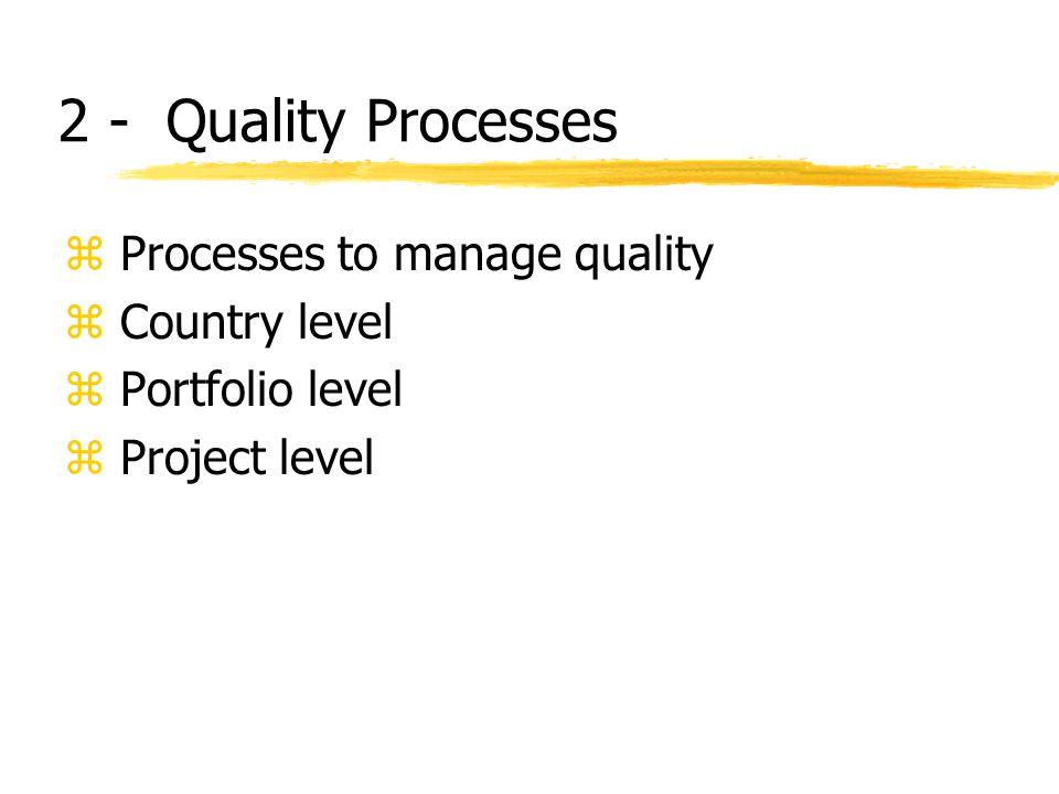 2 - Quality Processes z Processes to manage quality z Country level z Portfolio level z Project level