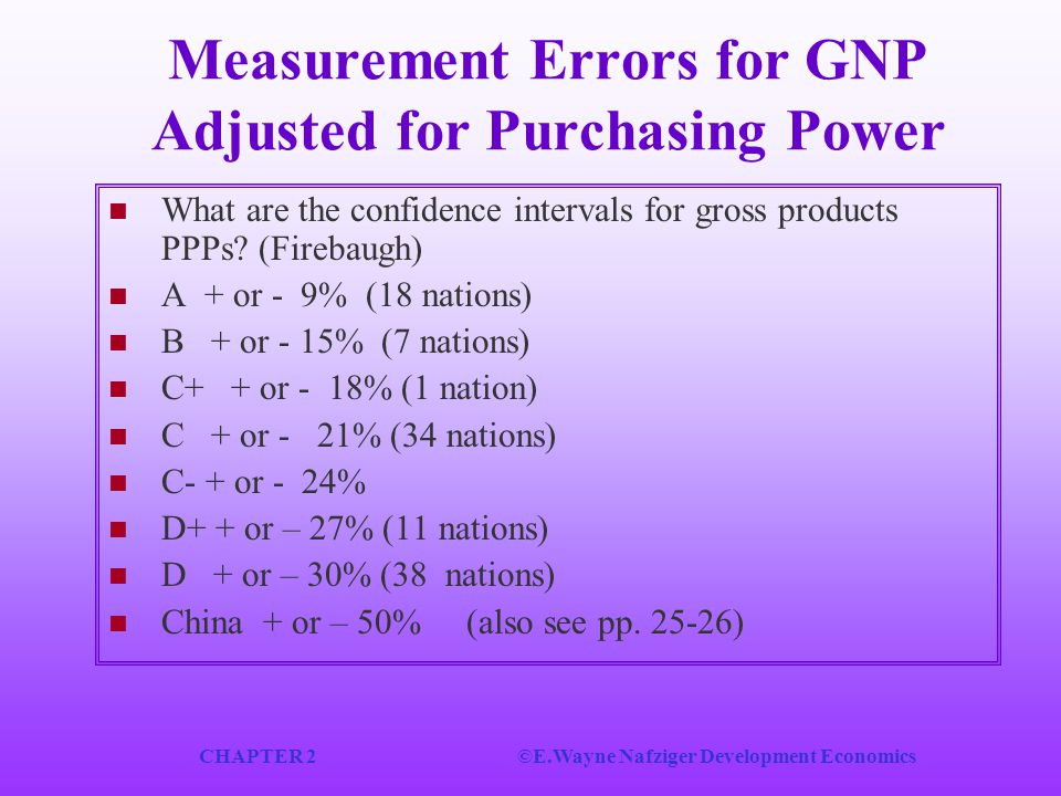 CHAPTER 2©E.Wayne Nafziger Development Economics Measurement Errors for GNP Adjusted for Purchasing Power What are the confidence intervals for gross