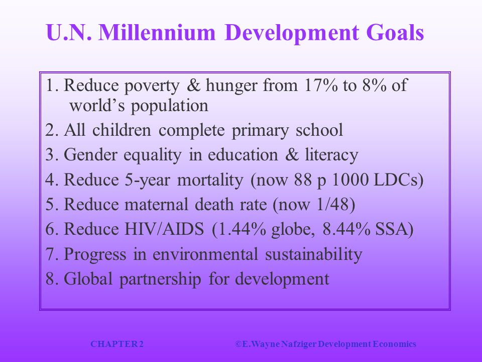 CHAPTER 2©E.Wayne Nafziger Development Economics U.N. Millennium Development Goals 1. Reduce poverty & hunger from 17% to 8% of world's population 2.
