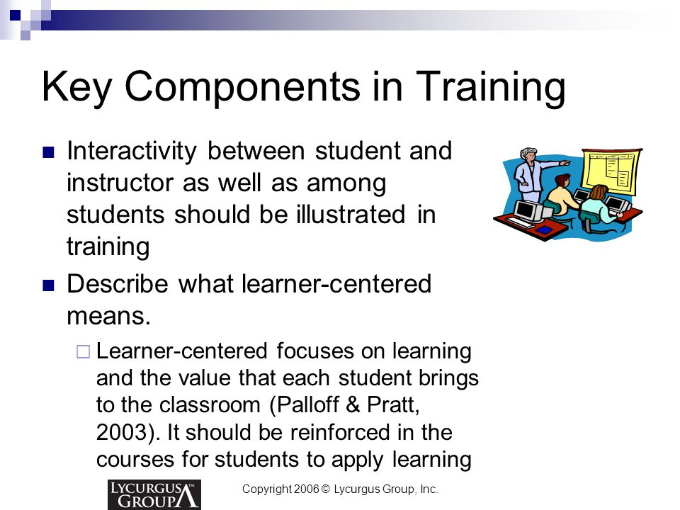 Copyright 2006 © Lycurgus Group, Inc. Key Components in Training Interactivity between student and instructor as well as among students should be illu