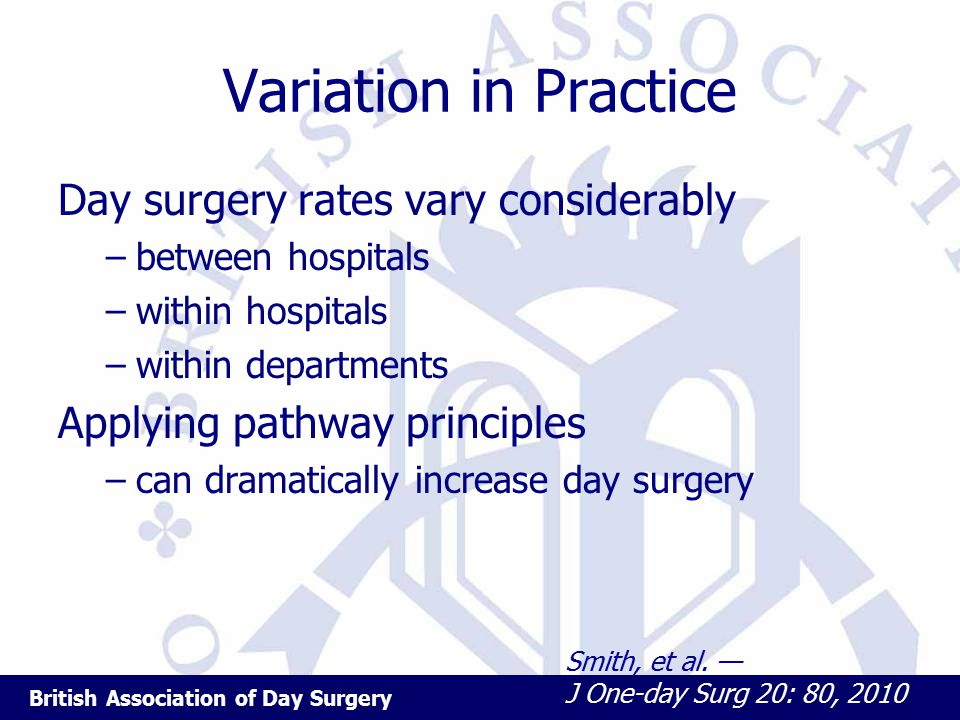 British Association of Day Surgery Variation in Practice Day surgery rates vary considerably –between hospitals –within hospitals –within departments Applying pathway principles –can dramatically increase day surgery Smith, et al.