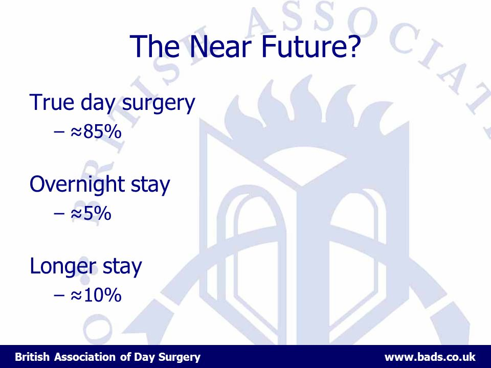 British Association of Day Surgery www.bads.co.uk The Near Future.