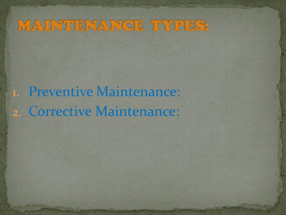 1. Preventive Maintenance: 2. Corrective Maintenance: