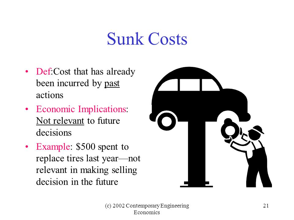 (c) 2002 Contemporary Engineering Economics 21 Sunk Costs Def:Cost that has already been incurred by past actions Economic Implications: Not relevant to future decisions Example: $500 spent to replace tires last year—not relevant in making selling decision in the future
