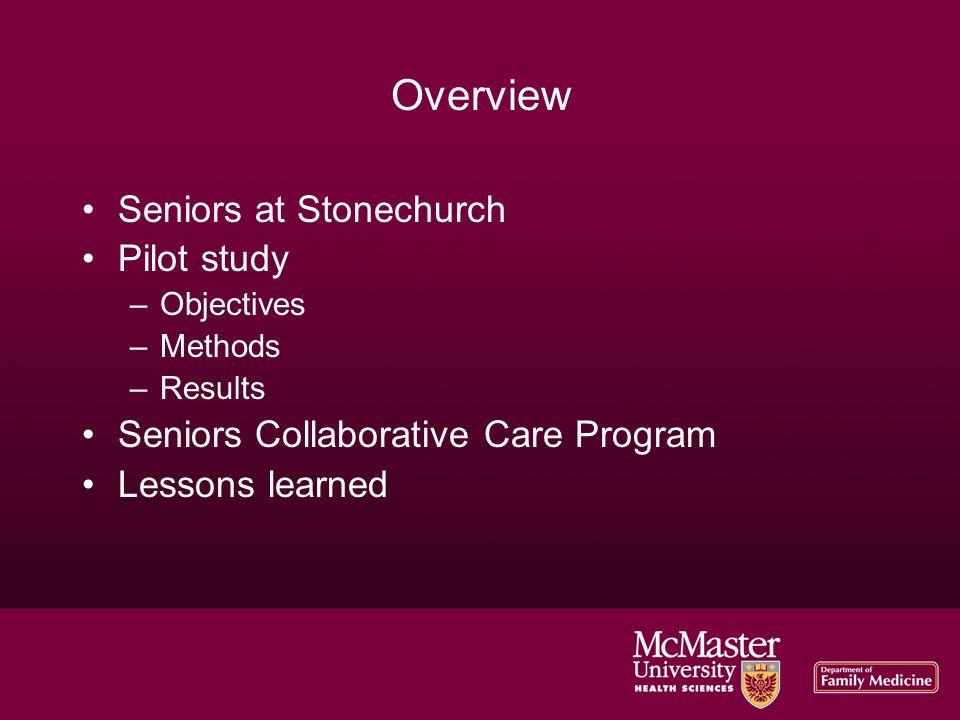 Seniors at Stonechurch 1,515 patients at SC > 65 years 20 % of visits at SC with seniors (January 2009 – January 2010)