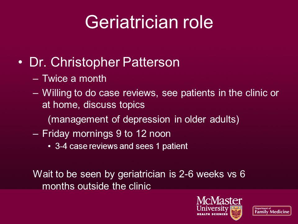 Geriatrician role Dr.