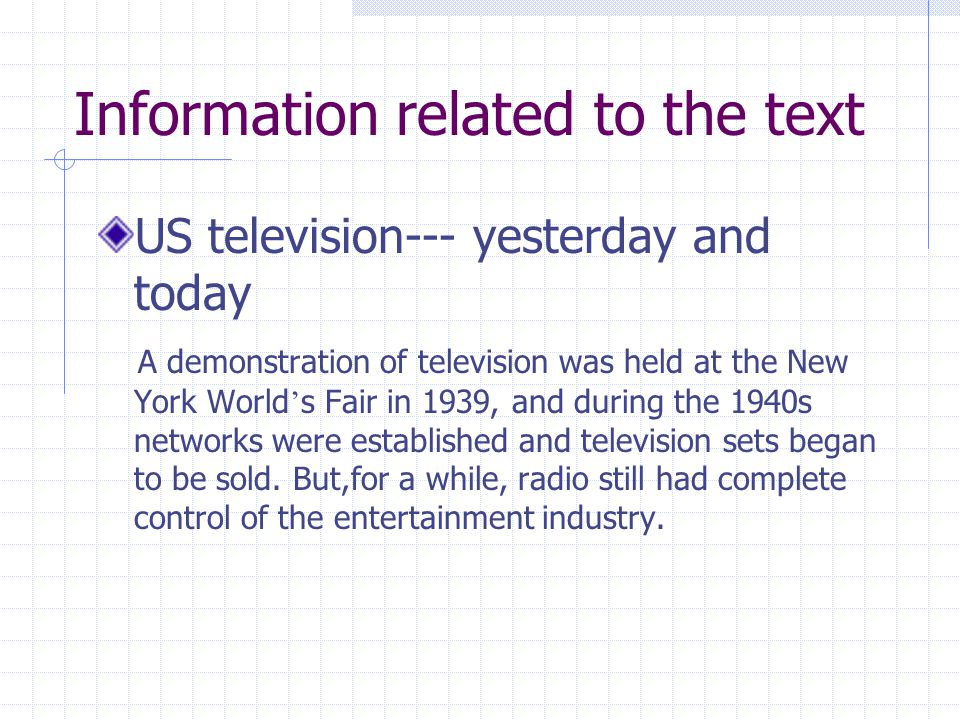 Information related to the text US television--- yesterday and today A demonstration of television was held at the New York World ' s Fair in 1939, an