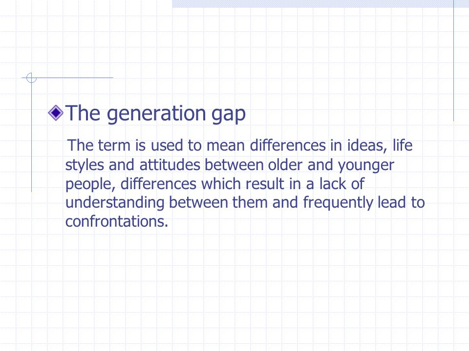 The generation gap The term is used to mean differences in ideas, life styles and attitudes between older and younger people, differences which result