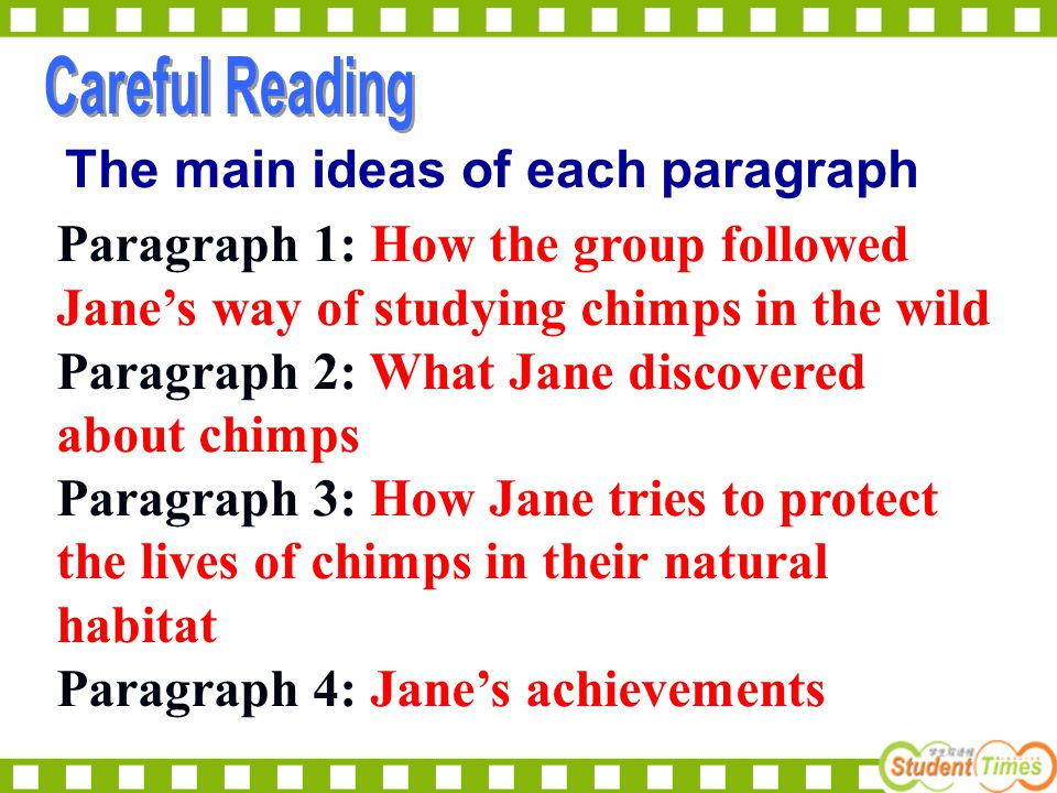 The main ideas of each paragraph Paragraph 1: How the group followed Jane's way of studying chimps in the wild Paragraph 2: What Jane discovered about