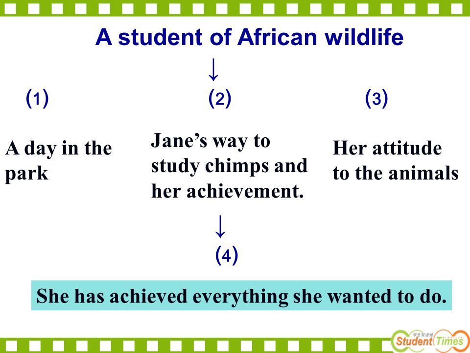A student of African wildlife ↓ ⑴ ⑵ ⑶ ↓ ⑷ A day in the park Jane's way to study chimps and her achievement. Her attitude to the animals She has achiev