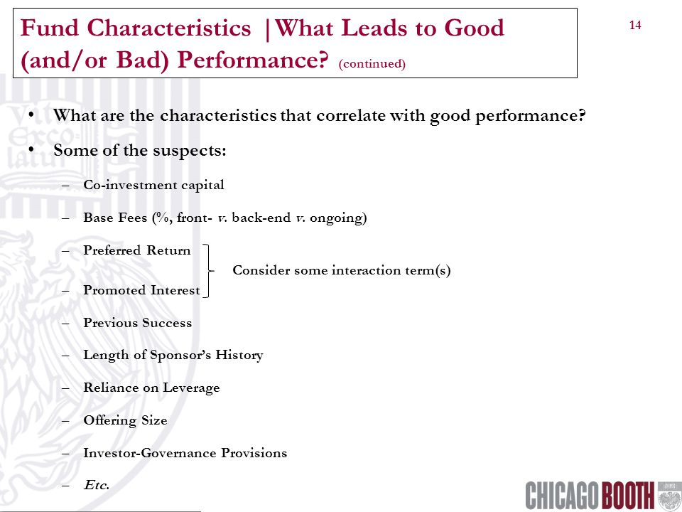 14 Fund Characteristics |What Leads to Good (and/or Bad) Performance.