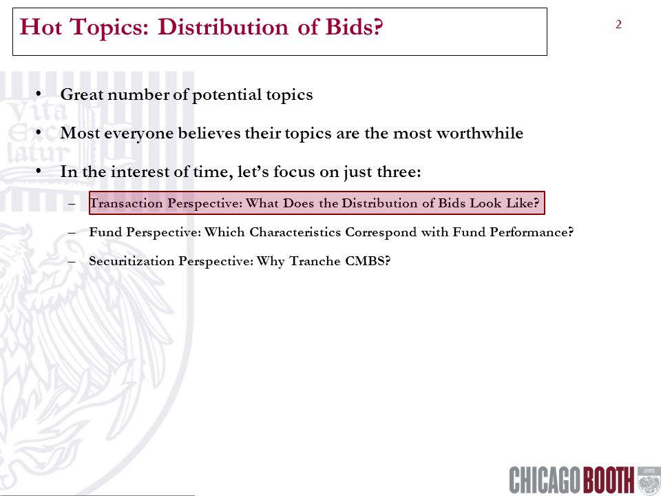 2 Hot Topics: Distribution of Bids.