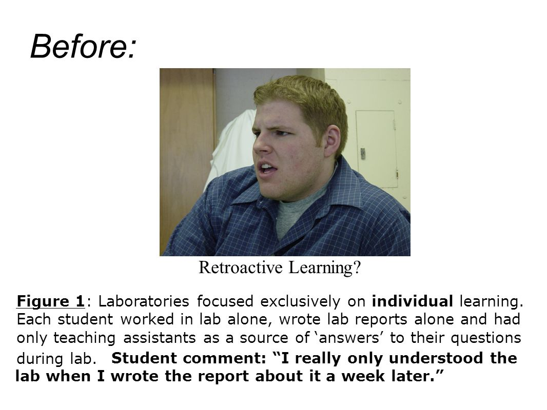 Figure 1: Laboratories focused exclusively on individual learning. Each student worked in lab alone, wrote lab reports alone and had only teaching ass