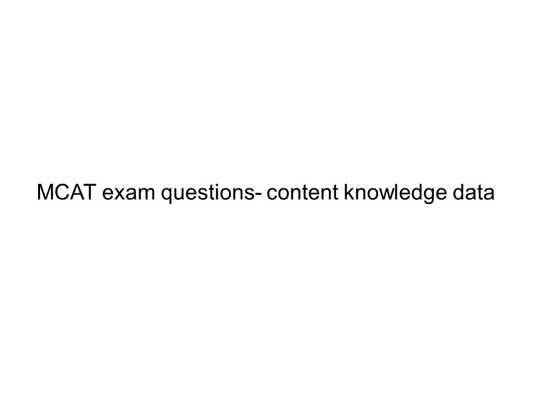 MCAT exam questions- content knowledge data
