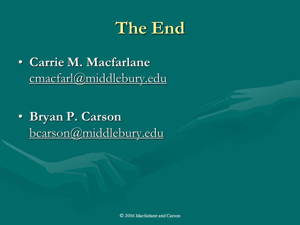 © 2006 Macfarlane and Carson The End Carrie M. Macfarlane cmacfarl@middlebury.eduCarrie M.