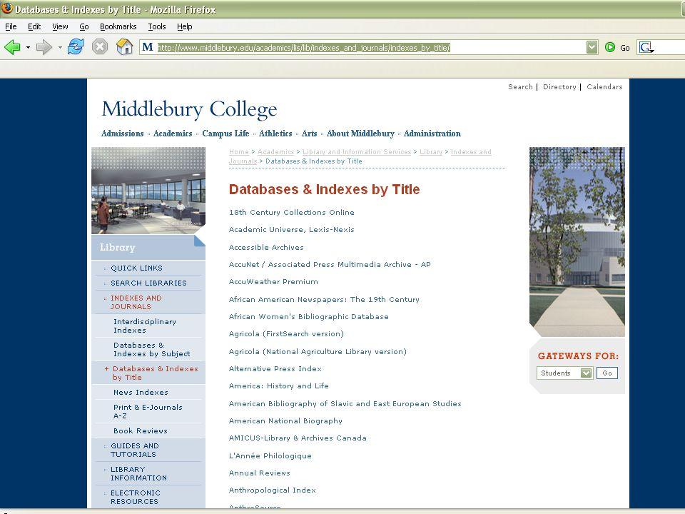 Screenshot: Title list