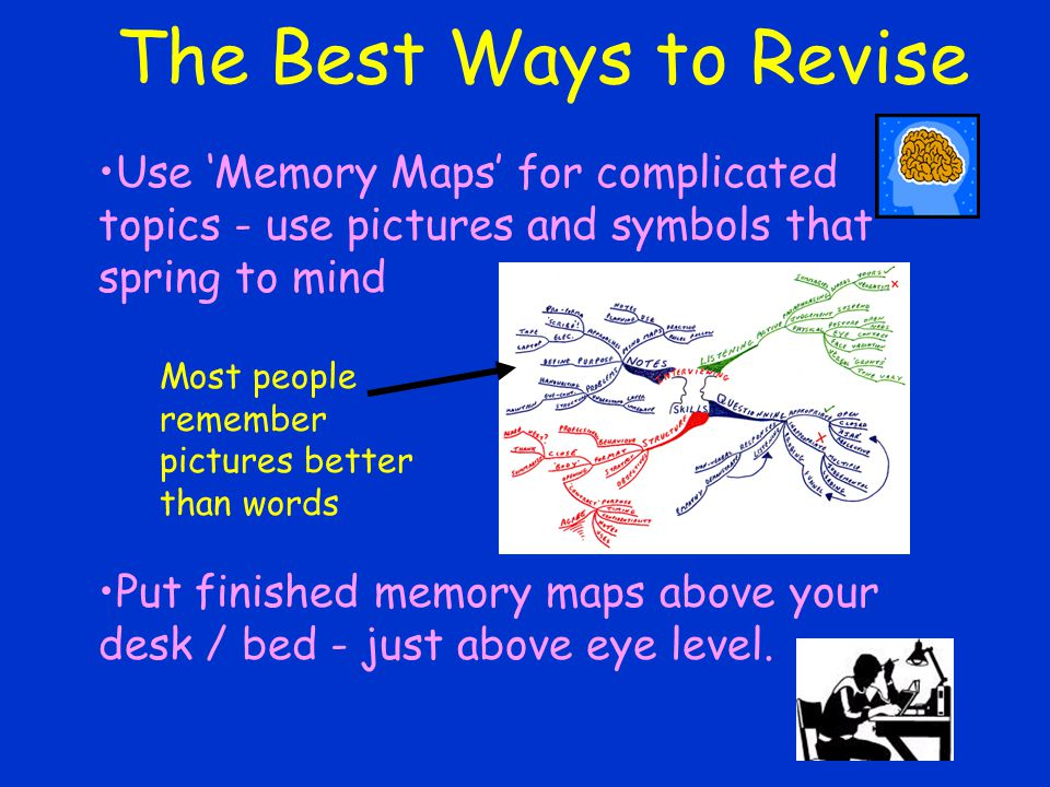 The Best Ways to Revise Use 'Memory Maps' for complicated topics - use pictures and symbols that spring to mind Put finished memory maps above your desk / bed - just above eye level.