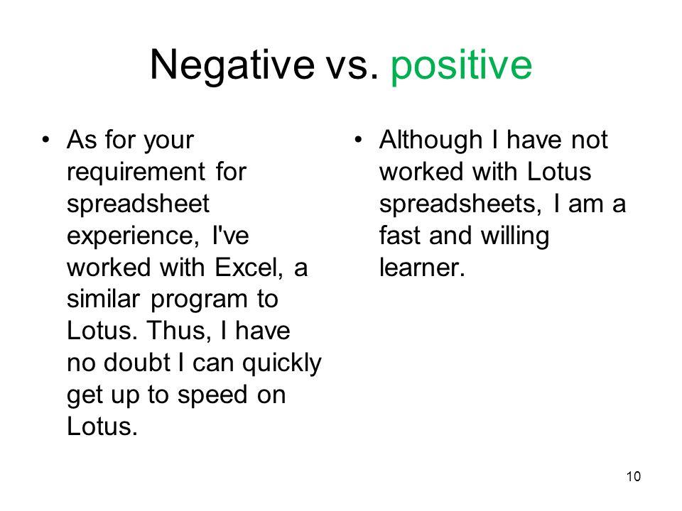 10 Negative vs.