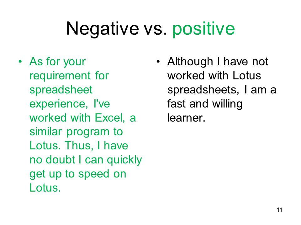 11 Negative vs.