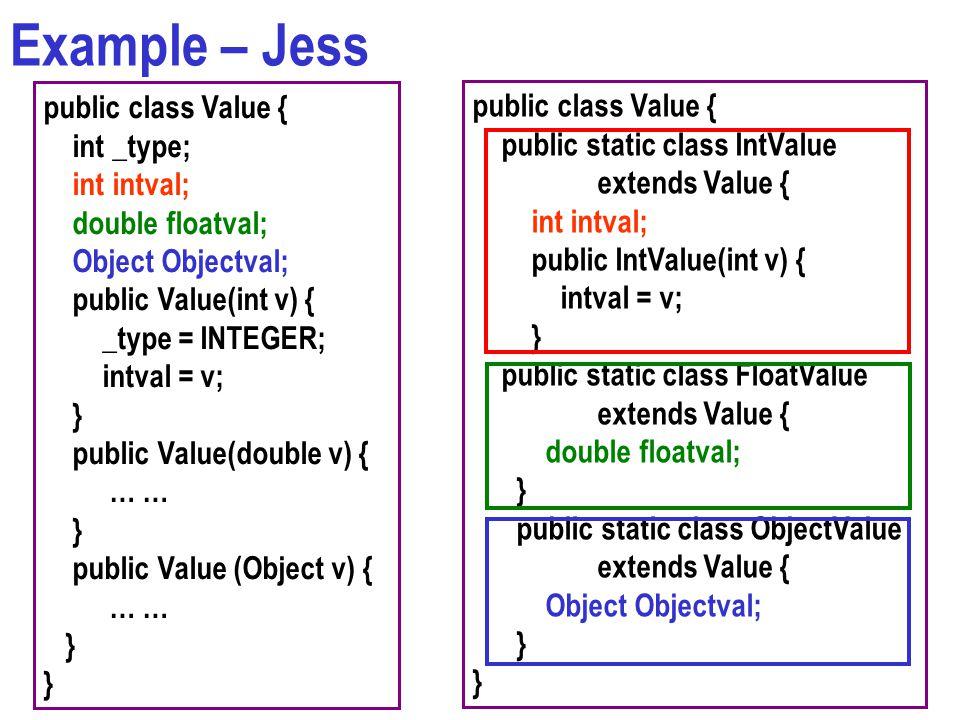 Example – Jess public class Value { int _type; int intval; double floatval; Object Objectval; public Value(int v) { _type = INTEGER; intval = v; } pub