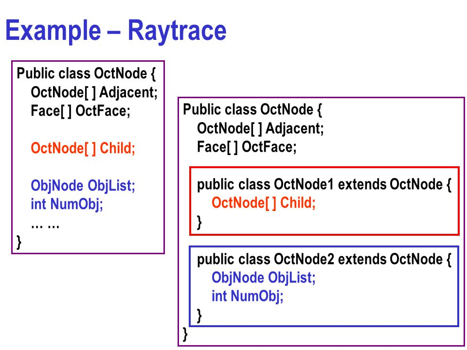 Example – Raytrace Public class OctNode { OctNode[ ] Adjacent; Face[ ] OctFace; OctNode[ ] Child; ObjNode ObjList; int NumObj; … … } Public class OctNode { OctNode[ ] Adjacent; Face[ ] OctFace; public class OctNode1 extends OctNode { OctNode[ ] Child; } public class OctNode2 extends OctNode { ObjNode ObjList; int NumObj; }