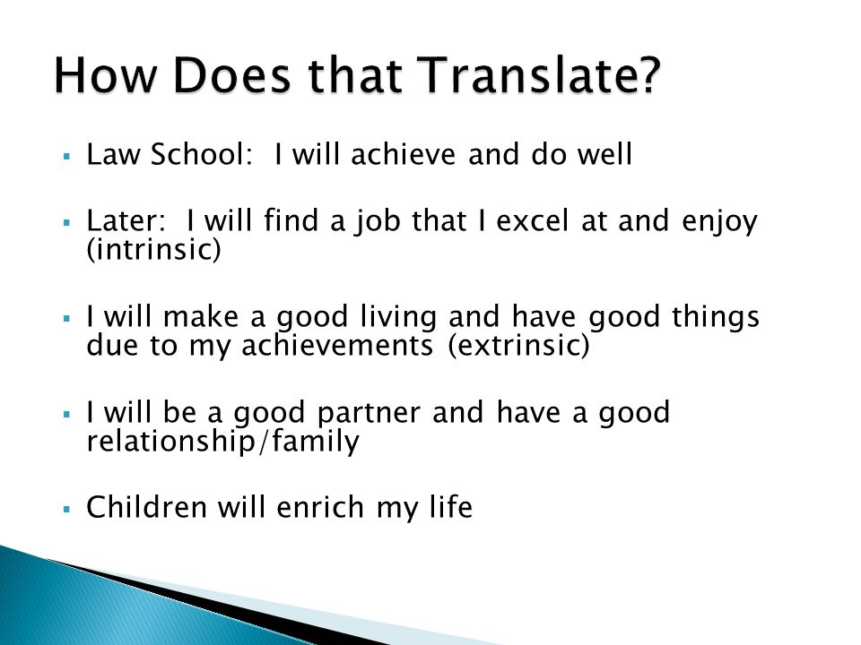  Law School: I will achieve and do well  Later: I will find a job that I excel at and enjoy (intrinsic)  I will make a good living and have good things due to my achievements (extrinsic)  I will be a good partner and have a good relationship/family  Children will enrich my life