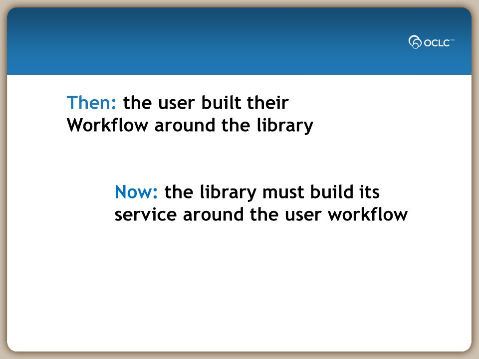 Then: the user built their Workflow around the library Now: the library must build its service around the user workflow