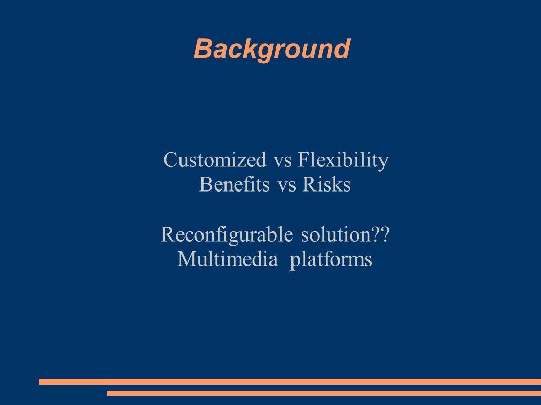 Background Customized vs Flexibility Benefits vs Risks Reconfigurable solution .