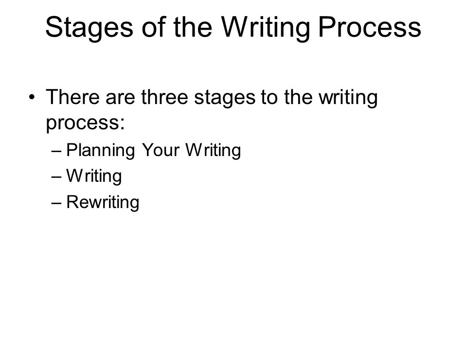 Stages of the Writing Process There are three stages to the writing process: –Planning Your Writing –Writing –Rewriting