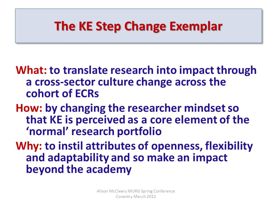 The KE Step Change Exemplar What: to translate research into impact through a cross-sector culture change across the cohort of ECRs How: by changing the researcher mindset so that KE is perceived as a core element of the 'normal' research portfolio Why: to instil attributes of openness, flexibility and adaptability and so make an impact beyond the academy Alison McCleery MURG Spring Conference Coventry March 2012