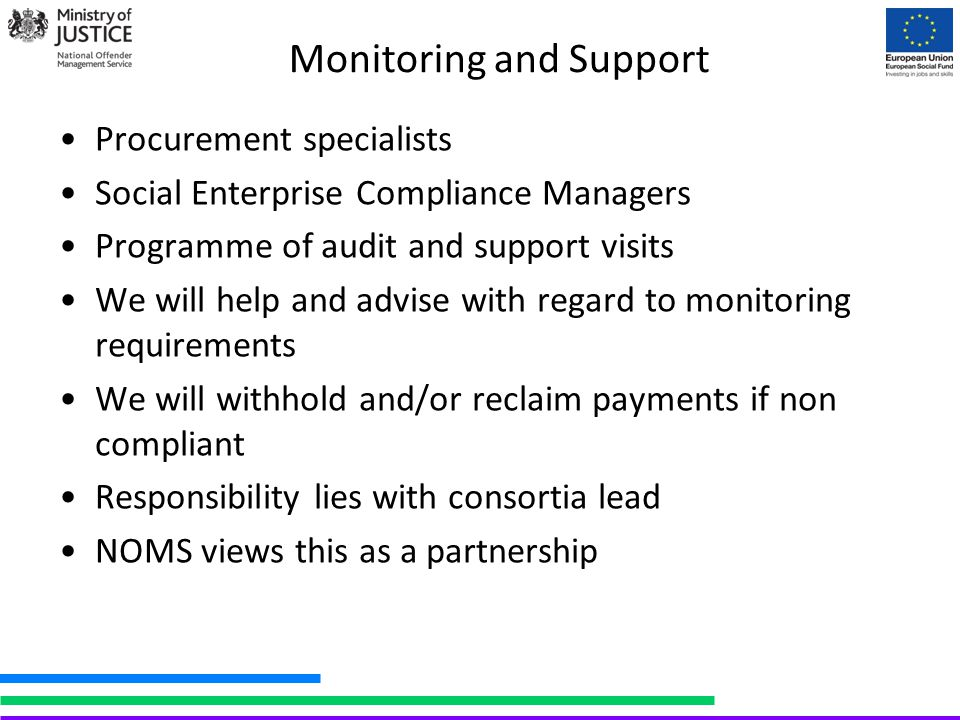 Monitoring and Support Procurement specialists Social Enterprise Compliance Managers Programme of audit and support visits We will help and advise wit
