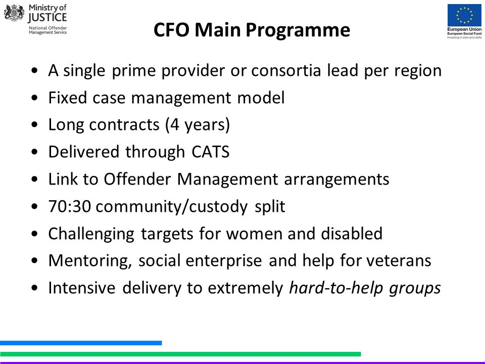 CFO Main Programme A single prime provider or consortia lead per region Fixed case management model Long contracts (4 years) Delivered through CATS Li