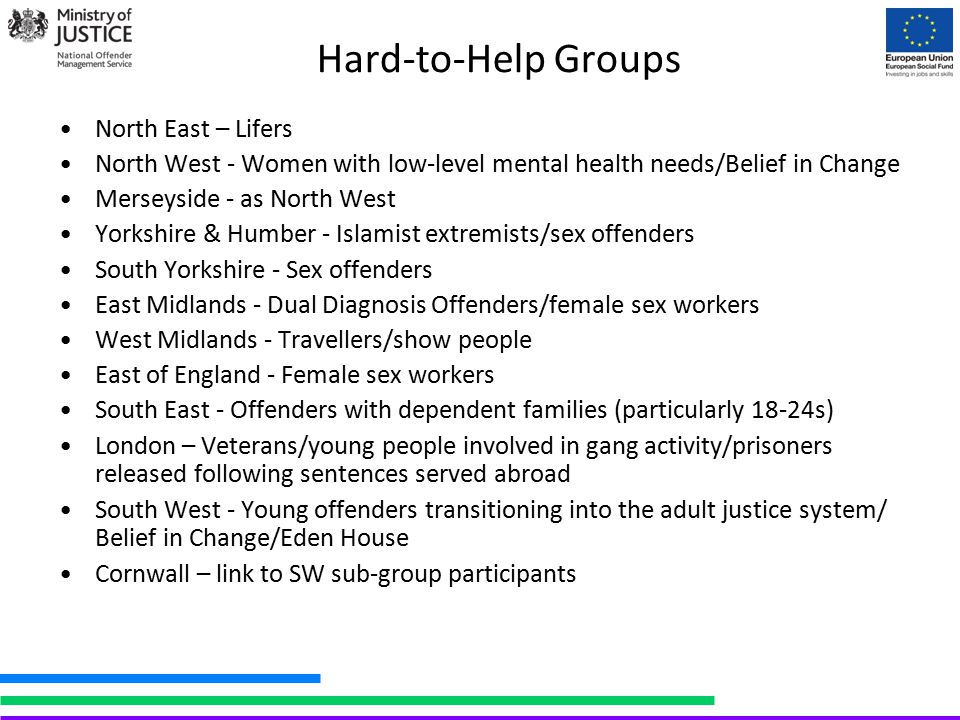 Hard-to-Help Groups North East – Lifers North West - Women with low-level mental health needs/Belief in Change Merseyside - as North West Yorkshire &