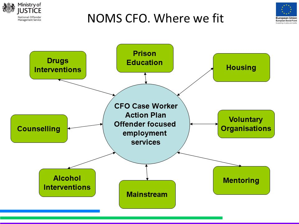 NOMS CFO. Where we fit Drugs Interventions Counselling Prison Education Housing Mainstream Alcohol Interventions Voluntary Organisations CFO Case Work