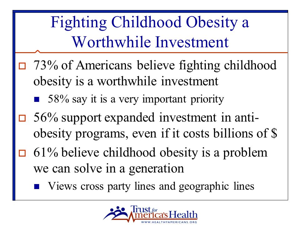 Fighting Childhood Obesity a Worthwhile Investment  73% of Americans believe fighting childhood obesity is a worthwhile investment 58% say it is a very important priority  56% support expanded investment in anti- obesity programs, even if it costs billions of $  61% believe childhood obesity is a problem we can solve in a generation Views cross party lines and geographic lines