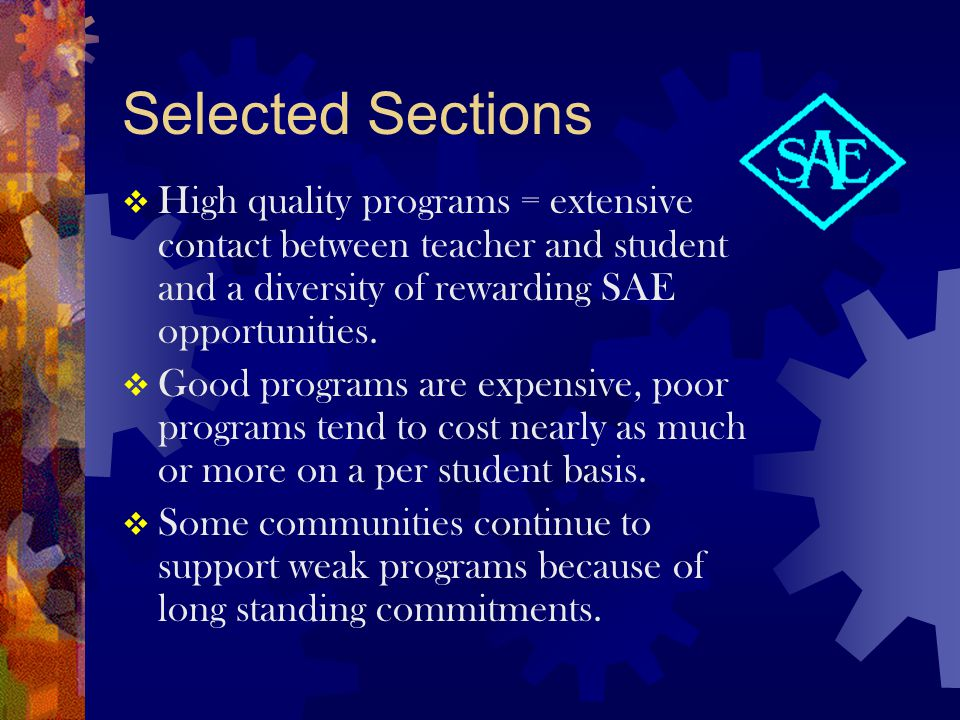 Selected Sections  Many successful ag ed programs have dropped the word vocational .