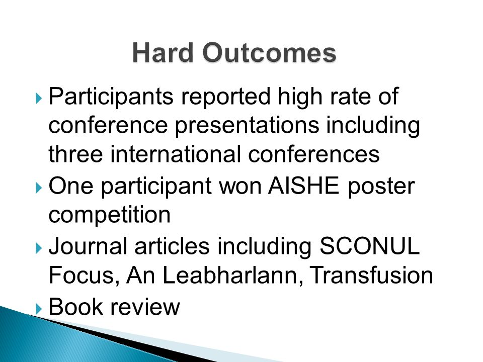  Participants reported high rate of conference presentations including three international conferences  One participant won AISHE poster competition  Journal articles including SCONUL Focus, An Leabharlann, Transfusion  Book review