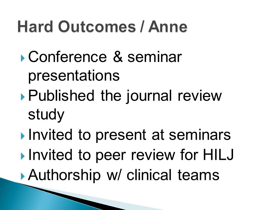  Conference & seminar presentations  Published the journal review study  Invited to present at seminars  Invited to peer review for HILJ  Authorship w/ clinical teams