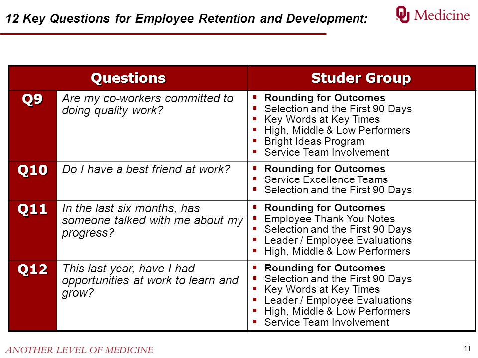 11 Questions Studer Group Q9 Are my co-workers committed to doing quality work?  Rounding for Outcomes  Selection and the First 90 Days  Key Words
