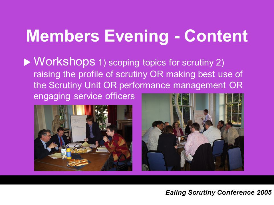 Members Evening - Content  Workshops 1) scoping topics for scrutiny 2) raising the profile of scrutiny OR making best use of the Scrutiny Unit OR performance management OR engaging service officers Ealing Scrutiny Conference 2005