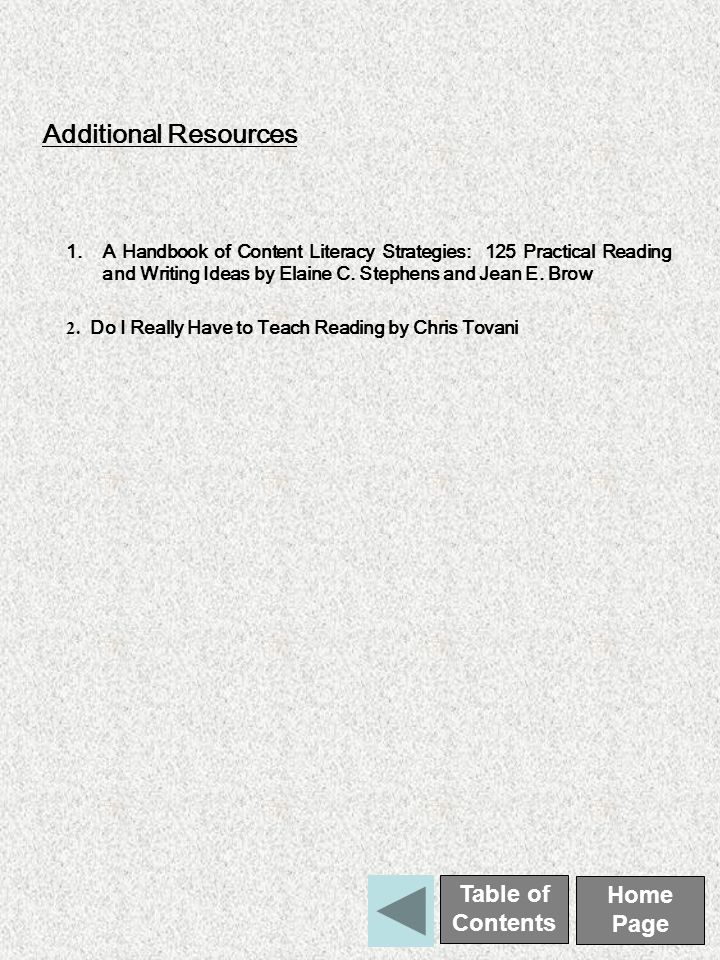 Additional Resources 1.A Handbook of Content Literacy Strategies: 125 Practical Reading and Writing Ideas by Elaine C.