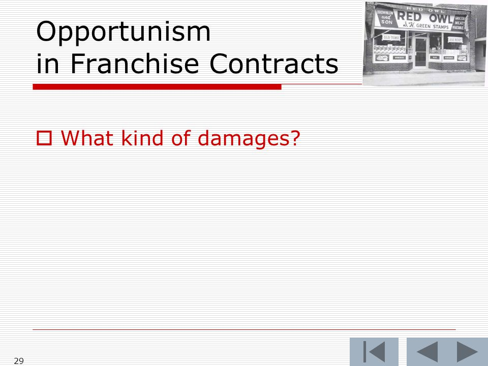 Opportunism in Franchise Contracts  What kind of damages 29
