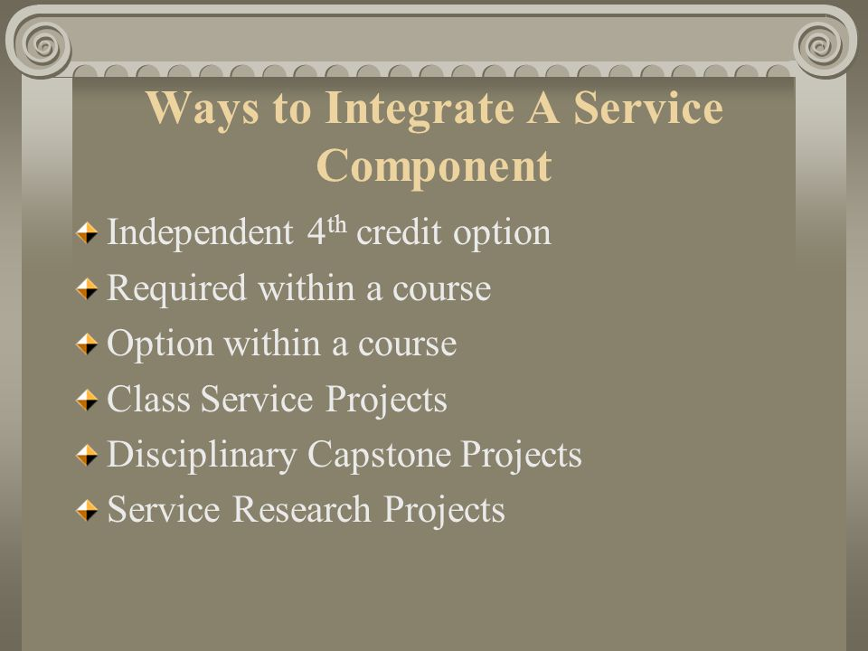 3. Development: Service learning occurs in different stages; beginning with service, from enabling to empowering; from observation, to experience; fro