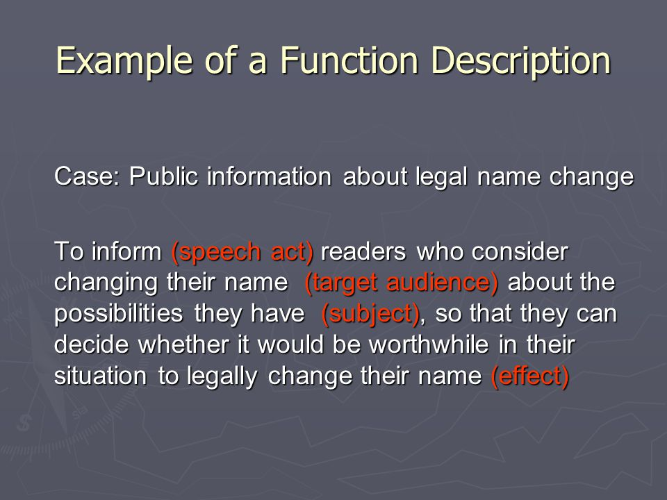 Example of a Function Description Case: Public information about legal name change To inform (speech act) readers who consider changing their name (ta