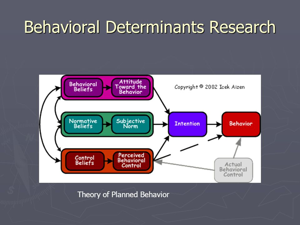 Behavioral Determinants Research Theory of Planned Behavior