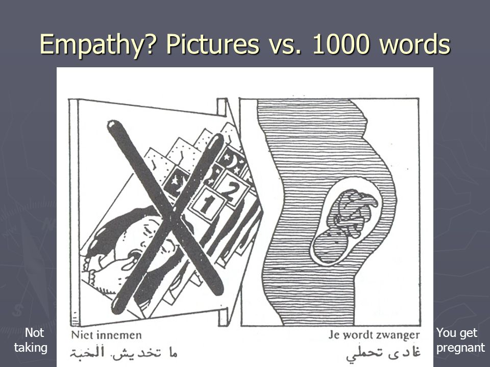 Empathy? Pictures vs. 1000 words Not taking You get pregnant