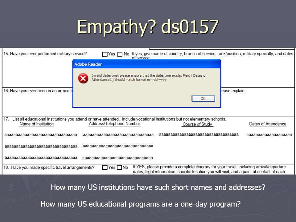 Empathy? ds0157 How many US institutions have such short names and addresses? How many US educational programs are a one-day program?